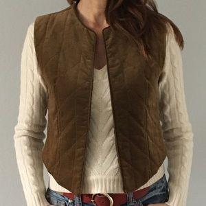 Ellen Tracy quilted velvet vest Size 8 light brown
